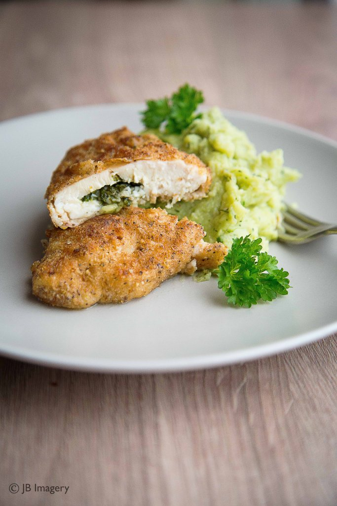 Chicken Kiev, food photography, mash potato, broccoli, parsley 2
