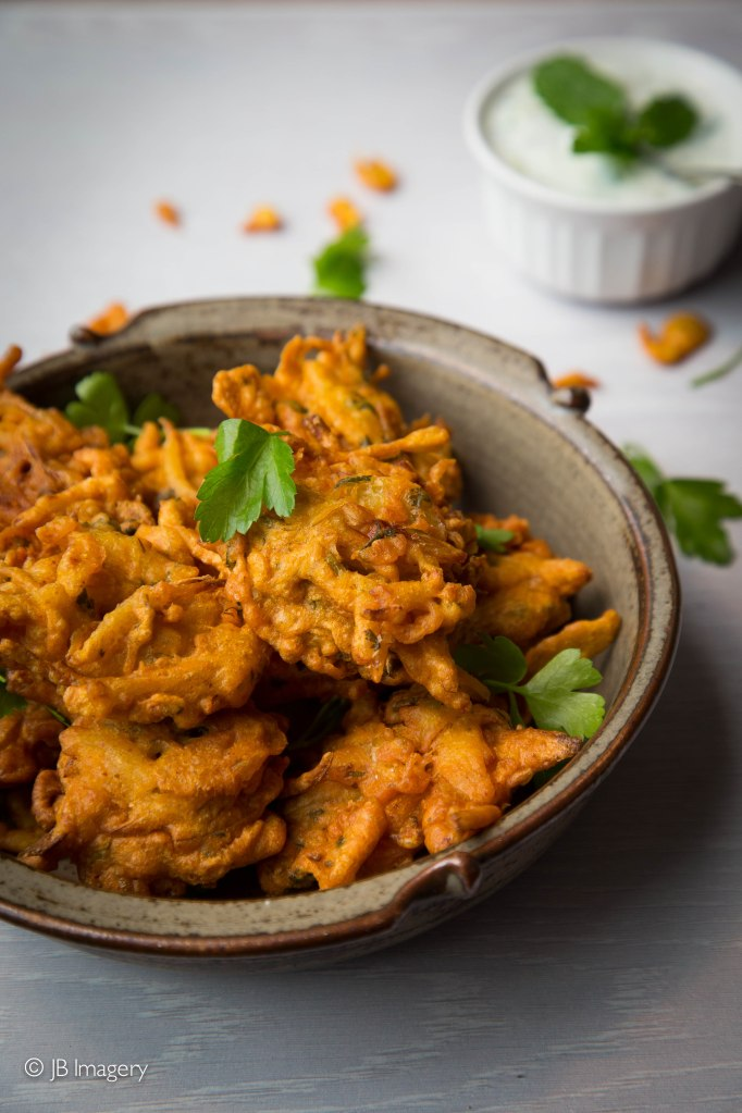 Onion bhajis, indian food, food photography, milton keynes, buckinghamshire