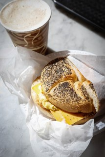 Scrambled egg and cheese sandwich